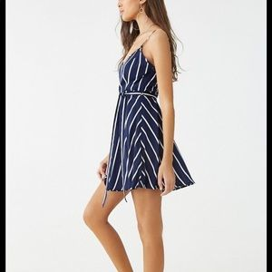 striped forever 21 v neck dress
